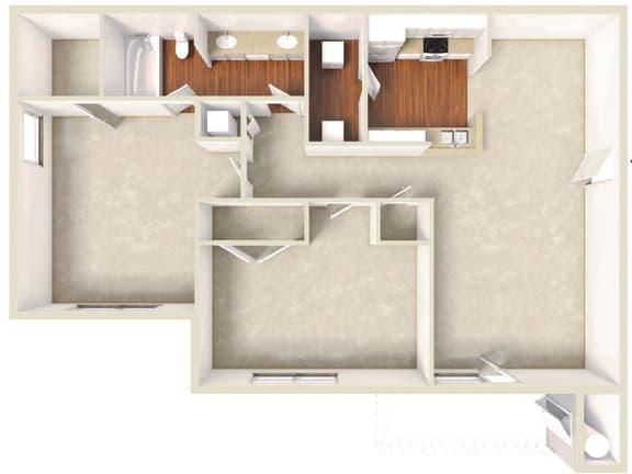 Floor Plan  Jasmin -2BD 1BTH