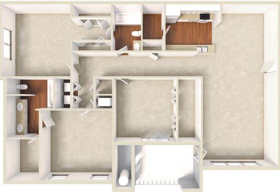 Floor Plan  Magnolia -3BD 2BTH
