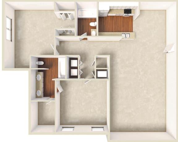 Floor Plan  Orchid -2BD 2BTH GD