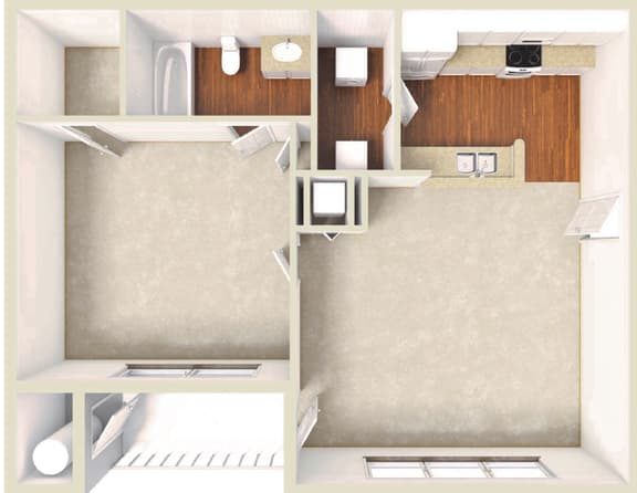 Floor Plan  Palm -1BD 1BTH