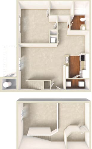 Floor Plan  Sage -1BD 1BTH LOFT