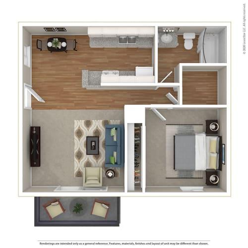 Floor Plan  1BR/1BA 1 Bed 1 Bath Floor Plan at Sage Creek, California