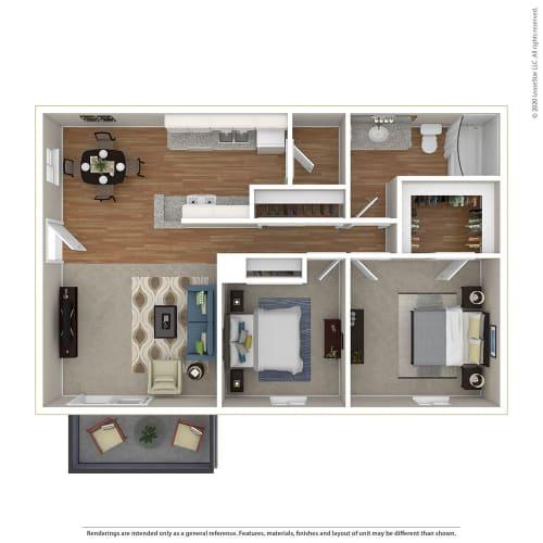Floor Plan  2BR/1BA 2 Bed 1 Bath Floor Plan at Sage Creek, California, 93063