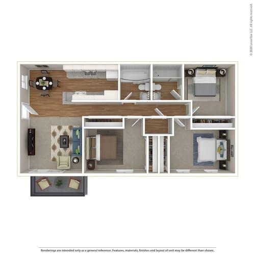 Floor Plan  3BR/2BA Floor Plan at Sage Creek, Simi Valley, CA, 93063