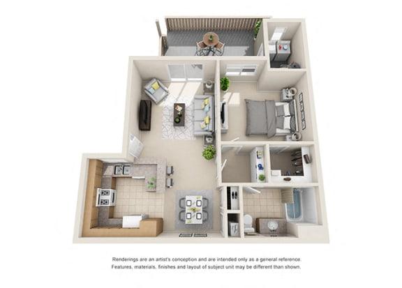 Floor Plan  1 bed 1 bath Plan B floorplan at Willow Springs, Goleta, 93117