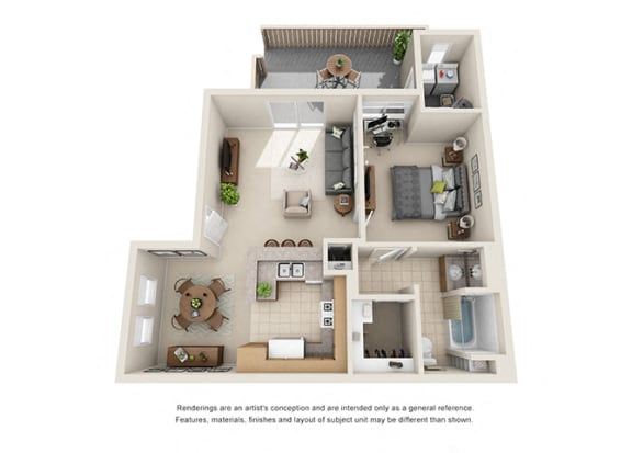 Floor Plan  1 bed 1 bath Plan C floorplan at Willow Springs, California