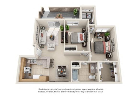 Floor Plan  2 bed 1  bath Plan E floorplan at Willow Springs, Goleta California