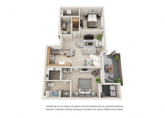 Floor Plan  2 bed 2 bath Plan H floorplan at Willow Springs, Goleta, 93117