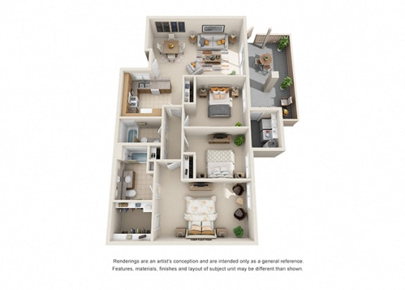 Floor Plan  3 bed 1 bath floorplan, at Willow Springs, Goleta, CA