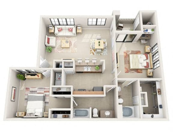 Floor Plan  The Madison Two Bedroom Two Bathroom Apartment
