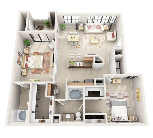 Floor Plan  The Manchester Two Bedroom Two Bathroom Apartment