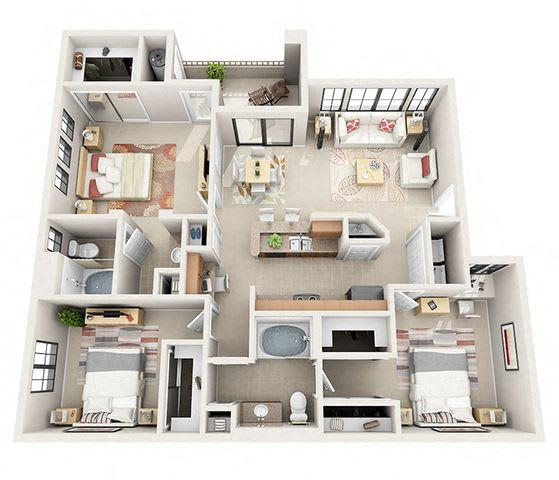 Floor Plan  The Westminister Three Bedroom Two Bathroom Apartment
