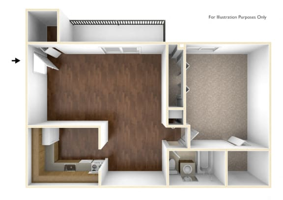 Floor Plan  One Bedroom Apartment Floor Plan Rolling Green Apartments