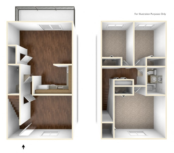 Floor Plan  Three Bedroom Townhouse Floor Plan Rolling Green Apartments