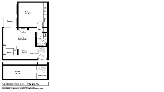 Floor Plan  1 x 1 Loft