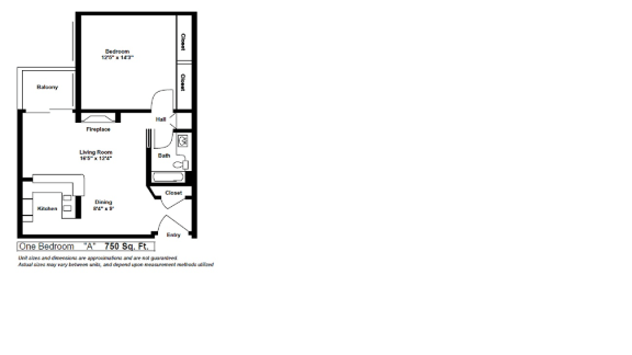 Floor Plan  One Bedroom