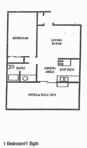 Floor Plan  1 Bedroom/1Bath, opens a dialog.