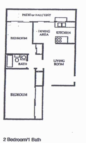 Floor Plan  2 Bedroom/1 Bath, opens a dialog.