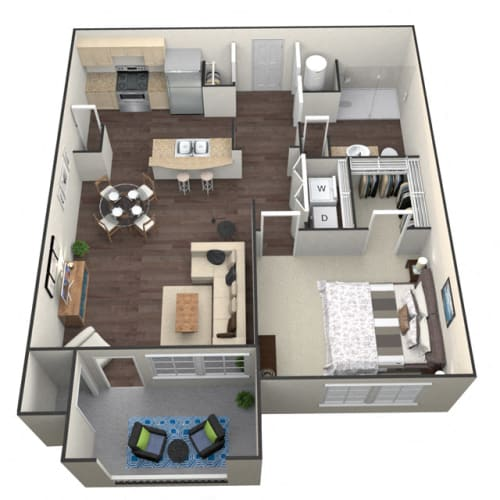 Floor Plan  1Bed 1Bath A 1 Unit floorplan at Aventura at Forest Park, St. Louis, MO