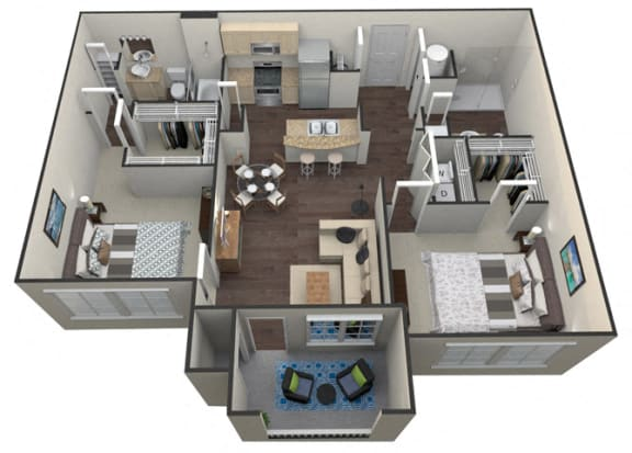Floor Plan  2Bed 2Bath B 1 Unit Floorplan at Aventura at Forest Park, St. Louis, MO