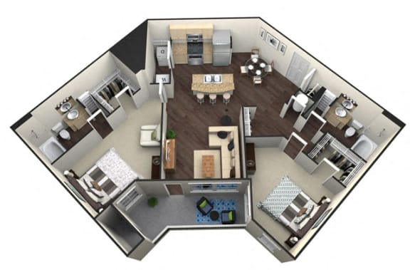 Floor Plan  2Bed 2Bath B 2 Unit Floorplan at Aventura at Forest Park, St. Louis, MO