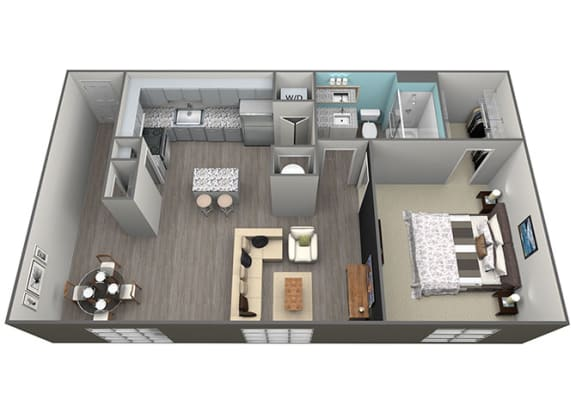 Floor Plan  1 Bed 1Bath A3 Floorplan at Aventura at Forest Park, St.Louis