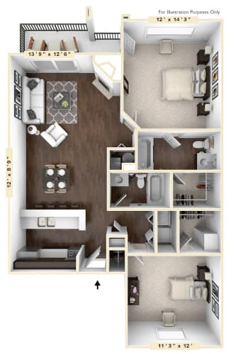 Floor Plan  The Canvas Back - 2 BR 2 BA Floor Plan at Mallard Bay Apartments, Crown Point, IN, 46307