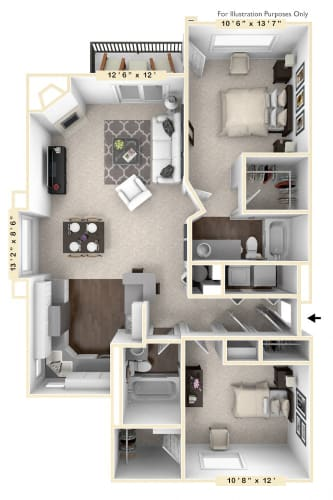 Floor Plan  The Reflection - 2 BR 2 BA Floor Plan at Mallard Bay Apartments, Crown Point, IN