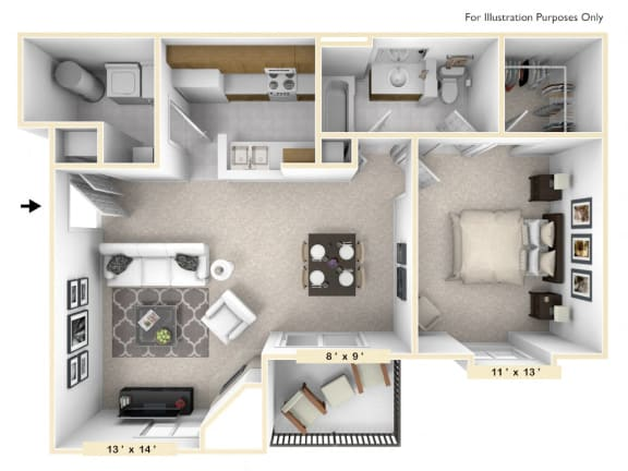 Floor Plan  The Amherst - 1 BR 1 BA Floor Plan at Pheasant Run, Lafayette, IN, 47909