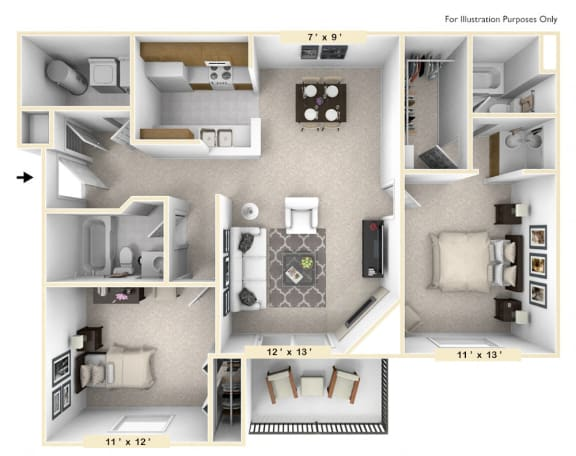 Floor Plan  The Golden - 2 BR 2 BA Floor Plan at Pheasant Run, Lafayette, Indiana