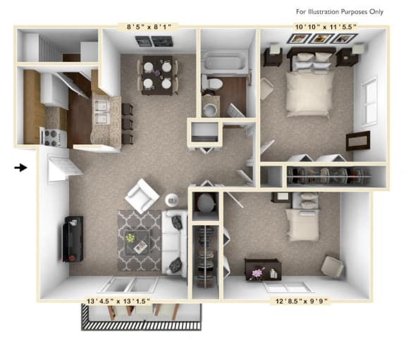 Floor Plan  The Birch - 2 BR 1 BA Floor Plan at The Timbers Apartments, Evansville, 47715
