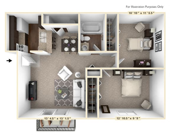 Floor Plan  The Mahogany - 2 BR 1 BA Floor Plan at The Timbers Apartments, Evansville, IN