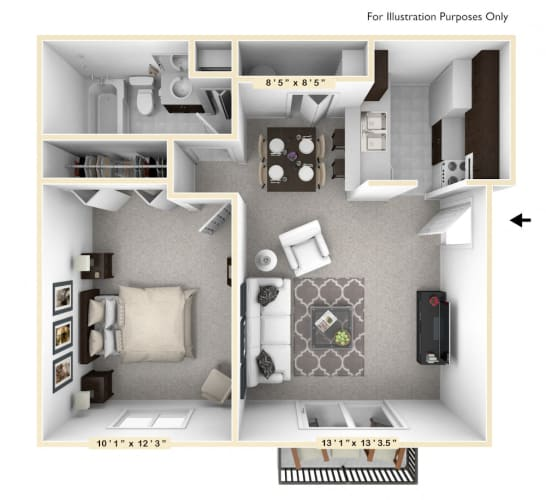 Floor Plan  The Oak - 1 BR 1 BA Floor Plan at The Timbers Apartments, Indiana, 47715