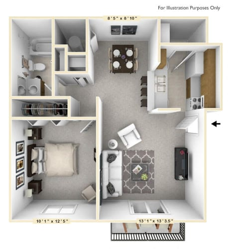 Floor Plan  The Walnut - 1 BR 1 BA Floor Plan at The Timbers Apartments, Evansville, IN, 47715