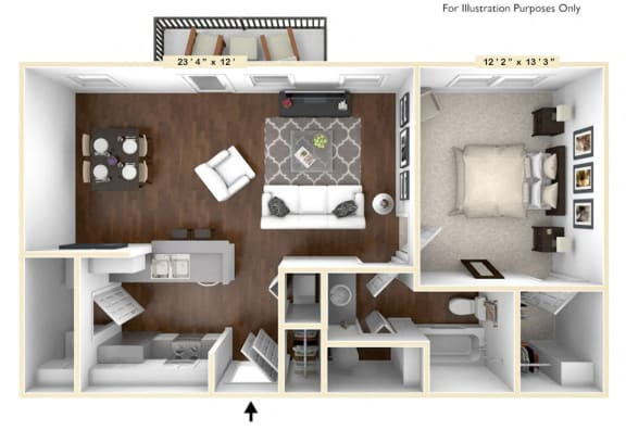 Floor Plan  The Broadway - 1 BR 1 BA Floor Plan at The Avenue at Polaris Apartments, Columbus, Ohio