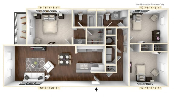 Floor Plan  The Lombard - 3 BR 2 BA Floor Plan at The Avenue at Polaris Apartments, Columbus