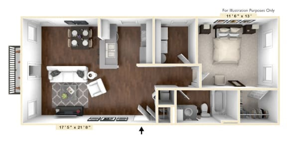 Floor Plan  The Madison - 1 BR 1 BA Floor Plan at The Avenue at Polaris Apartments, Ohio