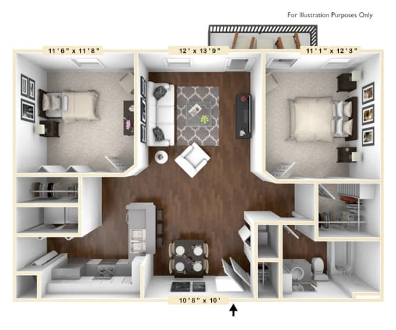 Floor Plan  The Meridian - 2 BR 1 BA Floor Plan at The Avenue at Polaris Apartments, Columbus, OH