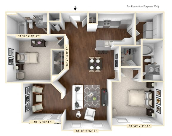 Floor Plan  The Rodeo - 2 BR 2 BA Floor Plan at The Avenue at Polaris Apartments, Columbus, Ohio