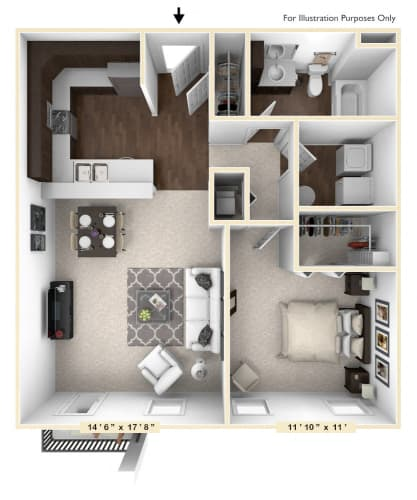 Floor Plan  The Beckmen - 1 BR 1 BA Floor Plan at Bella Vista Apartments, Fishers