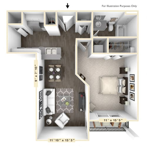 Floor Plan  The Caymus - 1 BR 1 BA Floor Plan at Bella Vista Apartments, Fishers, Indiana