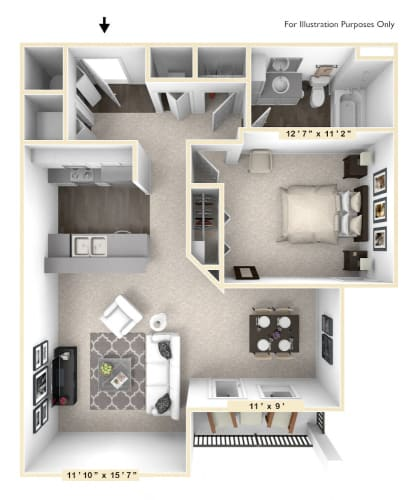 Floor Plan  The Opus - 1 BR 1 BA Floor Plan at Bella Vista Apartments, Indiana