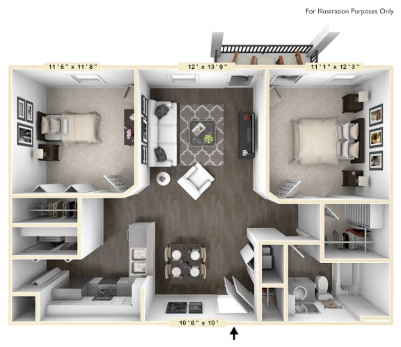 Floor Plan  The Veneto - 2 BR 1 BA with Study Floor Plan at Bella Vista Apartments, Fishers, IN, 46038