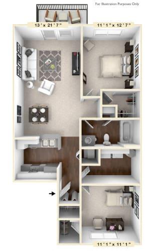 Floor Plan  The Horizon - 2 BR 1 BA Floor Plan at The Retreat Apartments, Roanoke, 24019