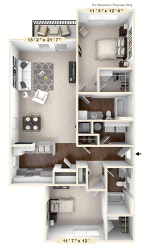 Floor Plan  The Ridge - 2 BR 2 BA Floor Plan at The Retreat Apartments, Roanoke