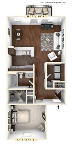 Floor Plan  The Summit - 1 BR 1 BA Floor Plan at The Retreat Apartments, Roanoke, VA