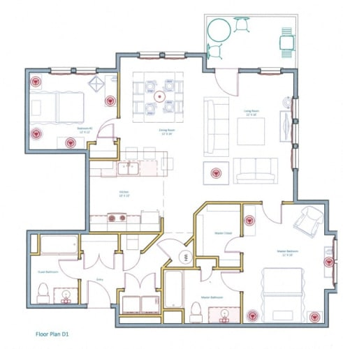 Floor Plan  Large 2 Bedroom Apartment Layout Ashland Woods