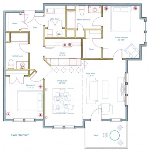 Floor Plan  Largest Two Bed Floorplan Ashland Woods