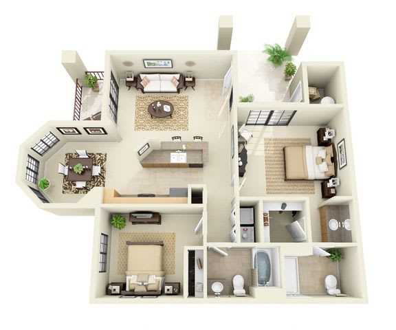 Floor Plan  Ventana | 2 Bedroom 2 Bathroom Floor Plan, opens a dialog.