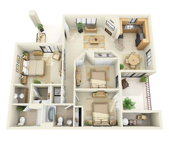 Floor Plan  Tubac | 3 Bedroom 2 Bath Floor Plan, opens a dialog.